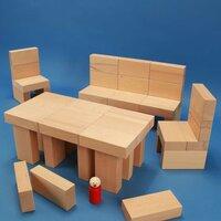 Jouet de cubes en bois « Fröbel-Spécial 85 » dans une caisse