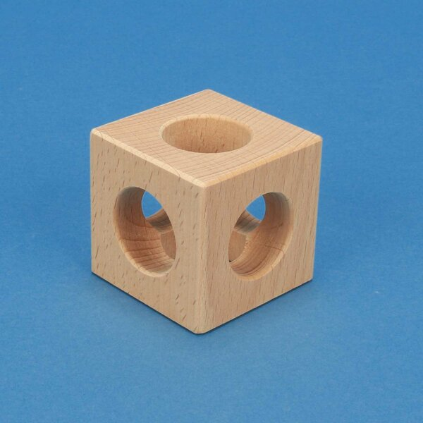 cubes en bois percés 6 cm - 3 cm 3x percés