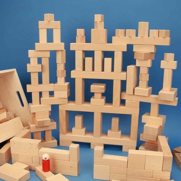 Jouet de 140 blocs en bois en caissé en hetre