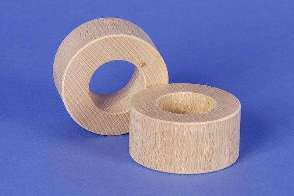 cubes en bois ronds Ø 6 x 3 cm - 3 cm percés