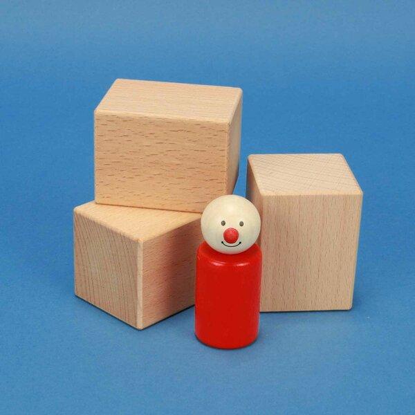 cubes en bois 6 x 4,5 x 4,5 cm hetre