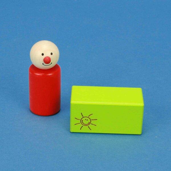 cubes en bois SMILE vert 6 x 3 x 3 cm