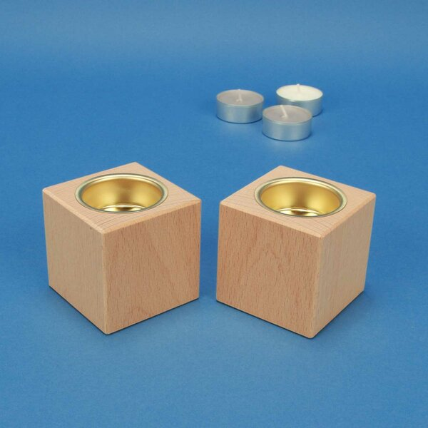 Bougeoir en bois 6 cm cubes en Hêtre