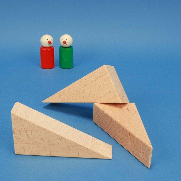 Triangles en bois de hêtre 12 x 6 x 3 cm