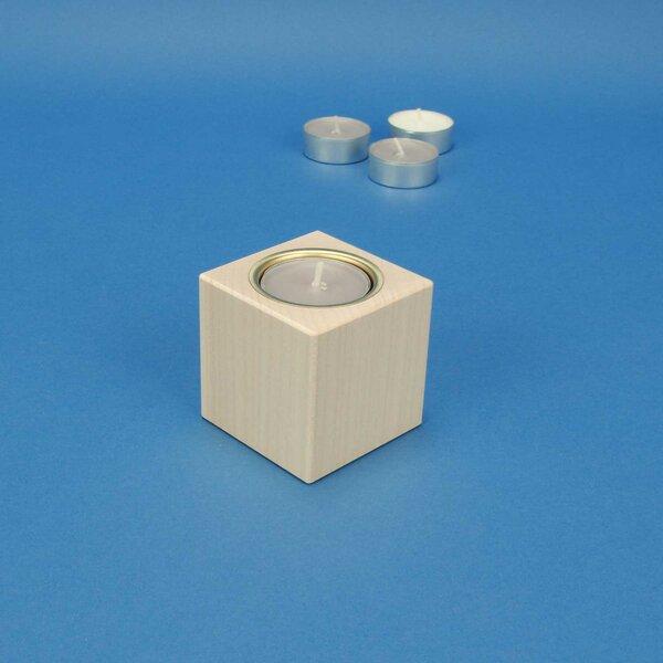 Bougeoir en bois 6 cm cubes en érable