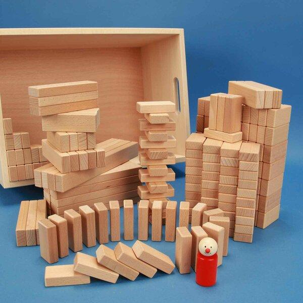 Jeu de 200 cubes en bois dans une caisse avec laserengraving