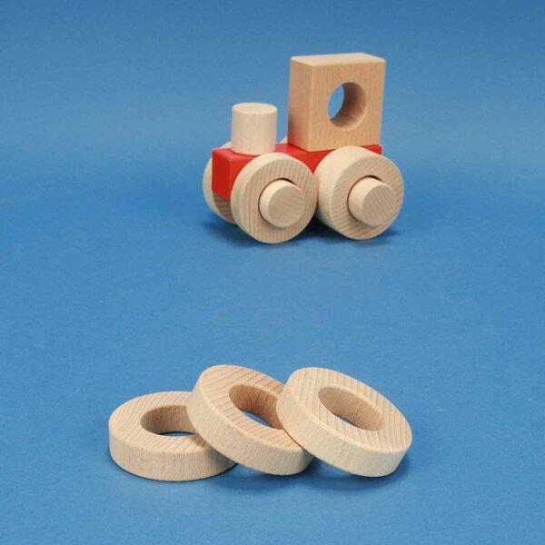 cubes en bois ronds Ø 6 x 1,5 cm - 3 cm percés