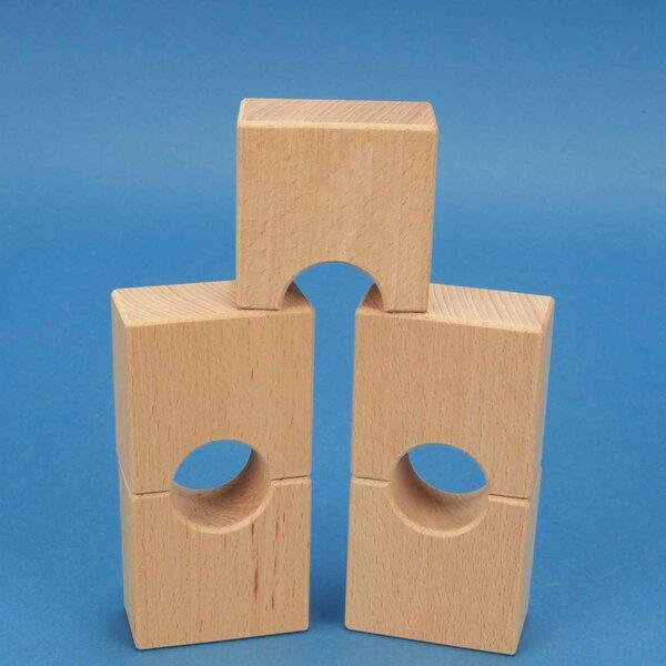 cubes en bois demi-percés 6 x 6 x 3 cm - 3 cm percés