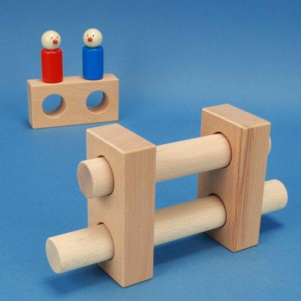 cubes en bois percés 12 x 6 x 3cm - 3 cm percés