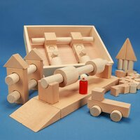 Jouet de cubes en bois « Spécial 57 » dans une caisse de rangeme