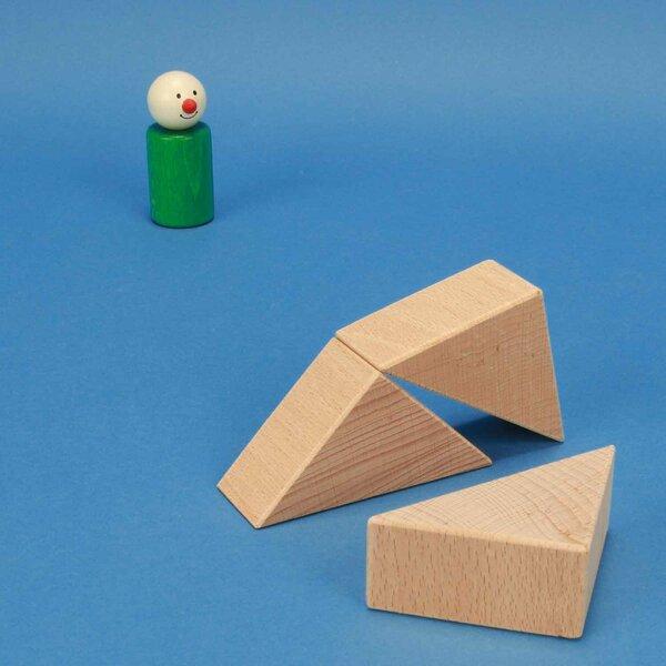 Triangles en bois de hêtre 6 x 6 x 3 cm