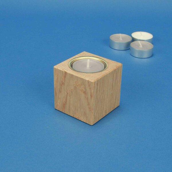 Bougeoir en bois 6 cm cubes en chêne