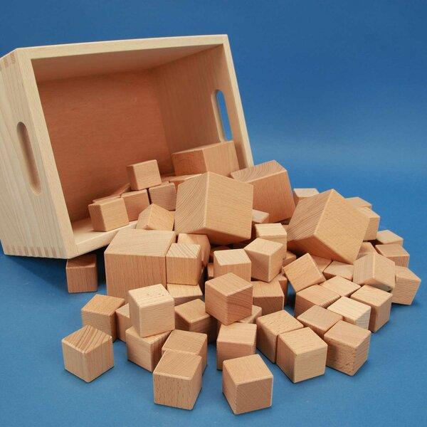 Jeu de 85 cubes en bois dans caisse laserengraving