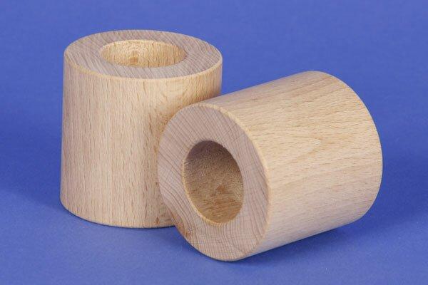 cubes en bois ronds Ø 6 x 6 cm - 3 cm percés