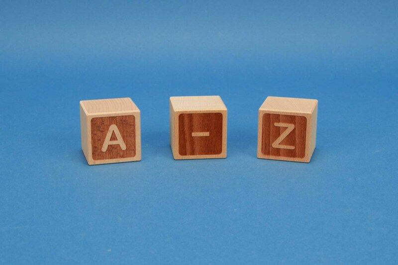 cubes de lettres A-Z négatif