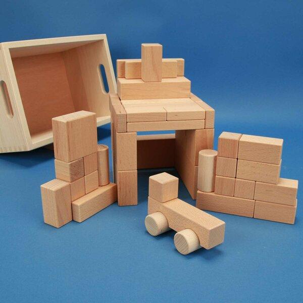 50 blocs en bois dans un caisse avec auto + laserengraving