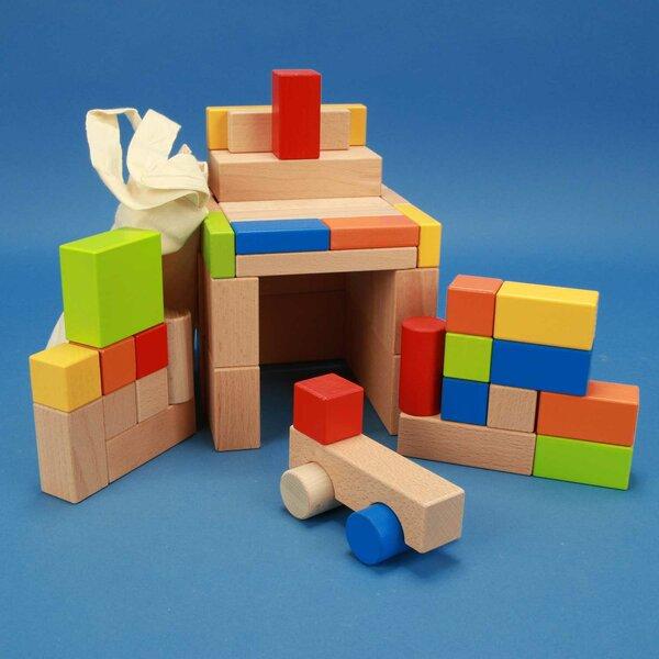 jeux de 50 blocs en bois coloré avec auto