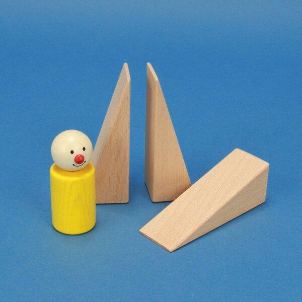 cubes en bois triangulaires 9 x 3 x 3 cm