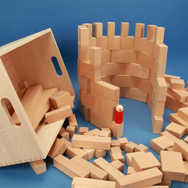 Jeu de 140 blocs en bois en caissé en hetre avec laserengraving