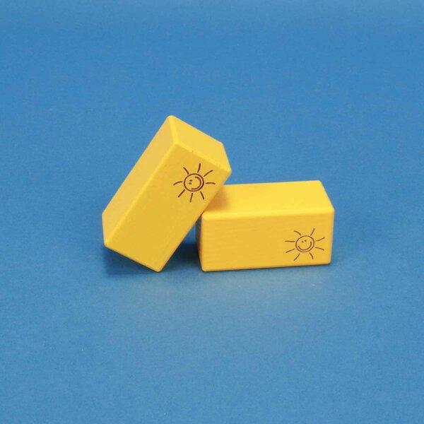 cubes en bois SMILE jaune 6 x 6 x 3 cm