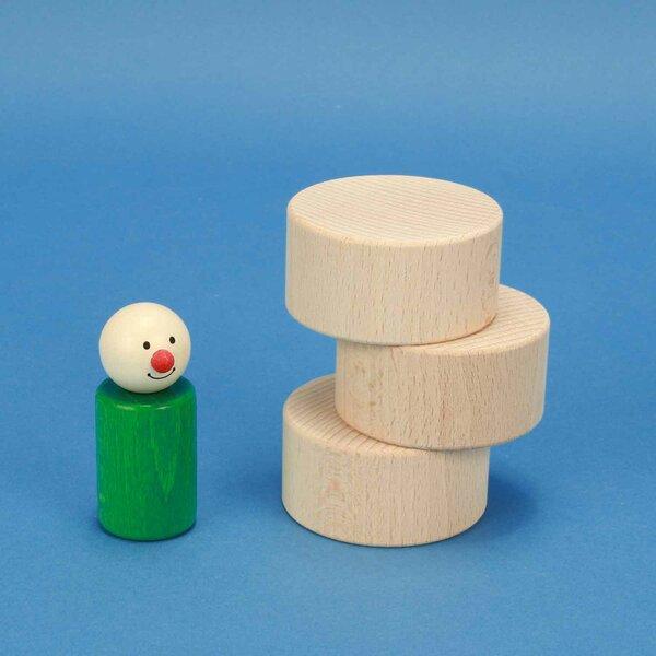 cubes en bois rond Ø 6 x 3 cm